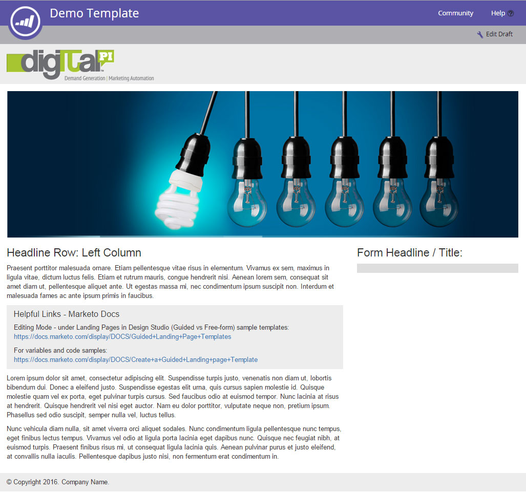 Marketo Guided Landing Page Template How-To\'s | Digital Pi