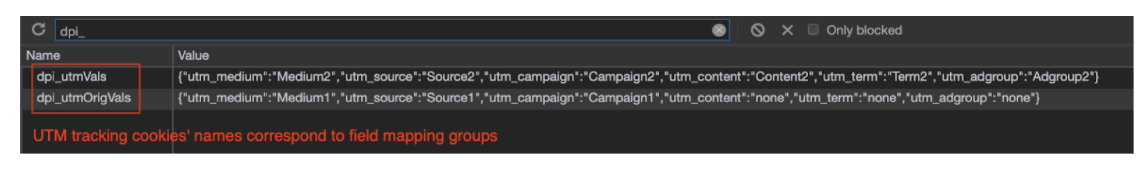 UTM tracking cookie's names correspond to field matching groups