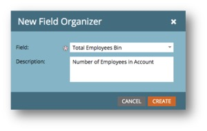 Choose a field for the Field Organizer