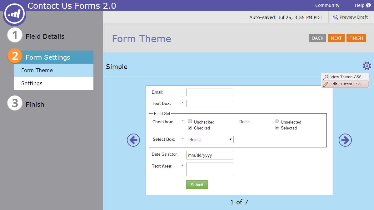 Forms 2.0 Custom CSS Settings