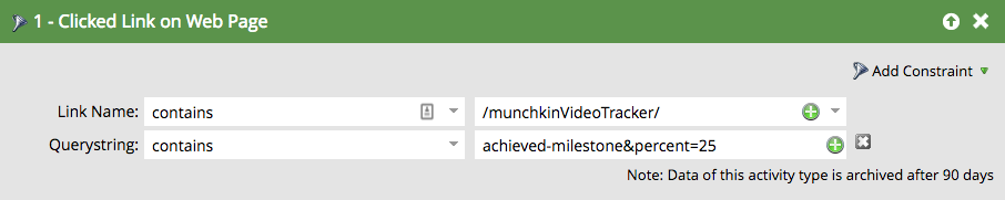Marketo filter for tracked YouTube video interaction
