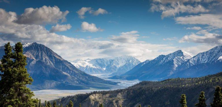 clouds, landscape, mountain range