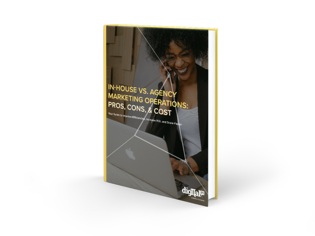"""Book cover with the ebook title, """"In-House vs. Agency Marketing Operations: Pros, Cons, & Cost"""""""